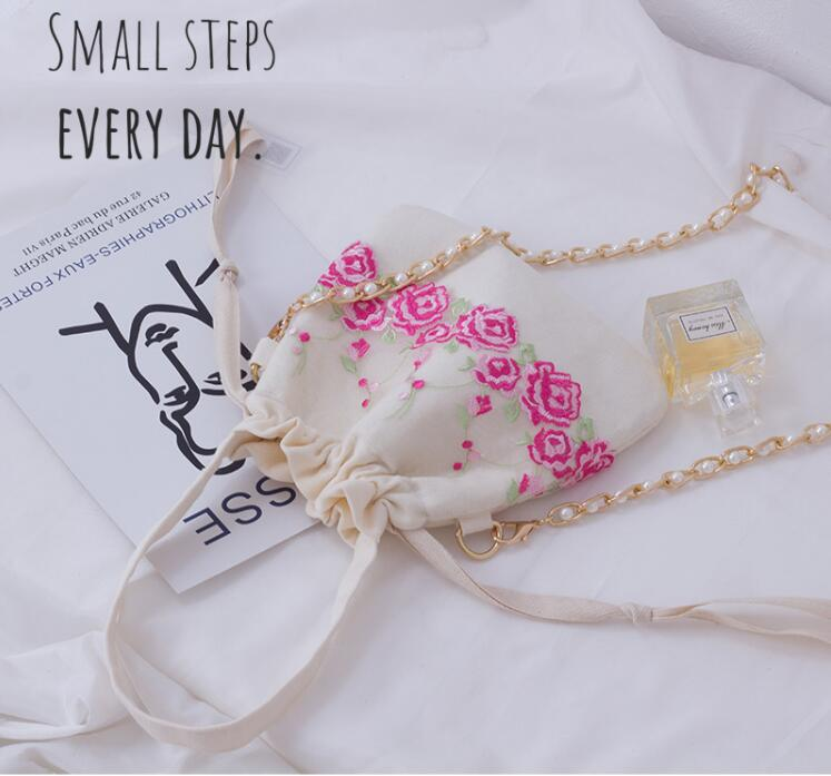 Angelatracy 2019 New Arrival Rose Pearl Women Fresh Embroidery Lace Chain Storage Pink Bag Summer Crossbody String Bag Bucket