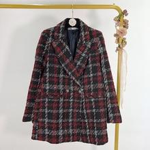 spring 2020 women elegant plaid tweed blazer notched collar long sleeve pockets