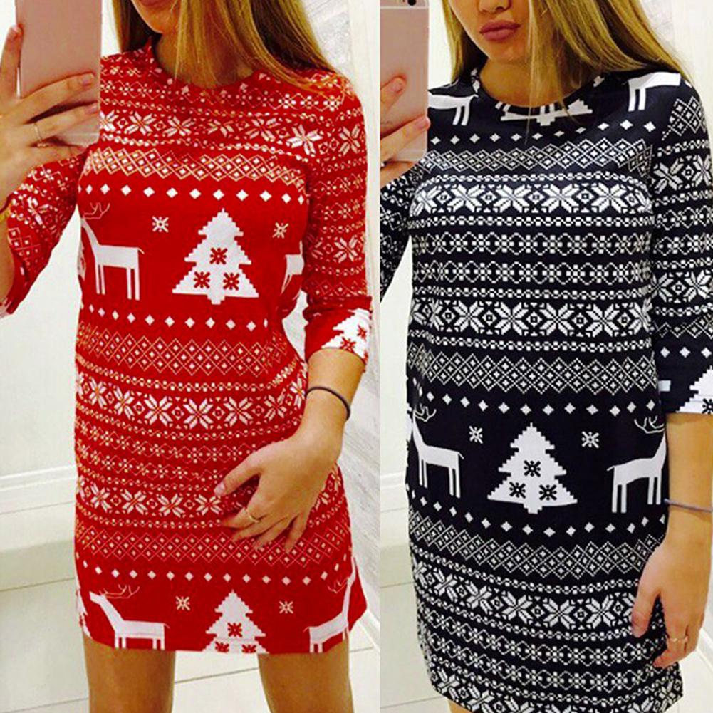 Christmas Fashion Women Elk Tree Print O Neck Half Sleeve Bodycon Party Holiday Decoration Dress