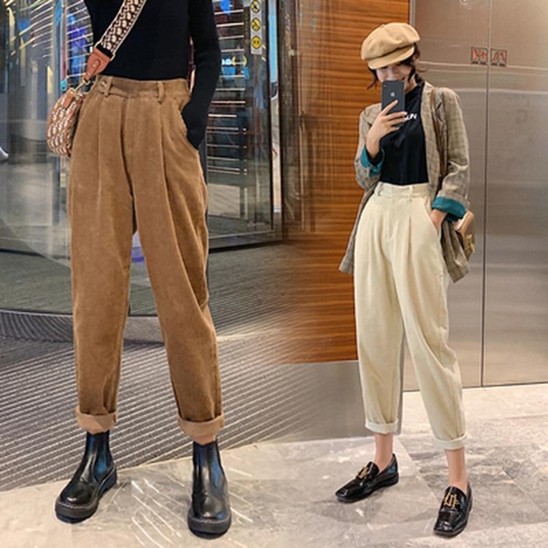 Corduroy Pants Harem Pants Autumn Winter Women Pants Elastic Waist Casual Black Trousers Pantalon Femme 2019 Plus Size