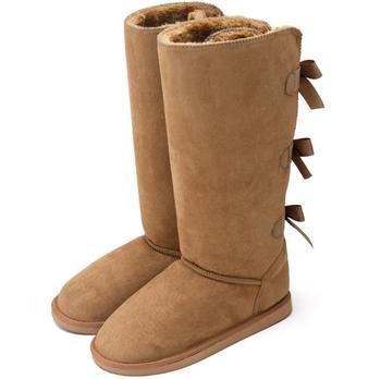 HOT 2020 winter new high-tube fashion all-match ciepłe grube buty śnieżne z kokardką śniegowe buty damskie płaskie obcasy śniegowe buty tanie i dobre opinie WHOSONG CN (pochodzenie) Futro Połowy łydki Faux Futra Stałe 0015 Dla dorosłych Mieszkanie z Buty śniegu Krótki pluszowe