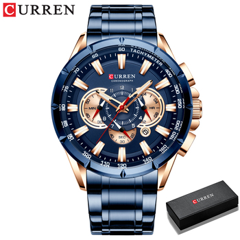 CURREN New Causal Sport Chronograph Men's Watches Stainless Steel Band Wristwatch Big Dial Quartz Clock with Luminous Pointers 13