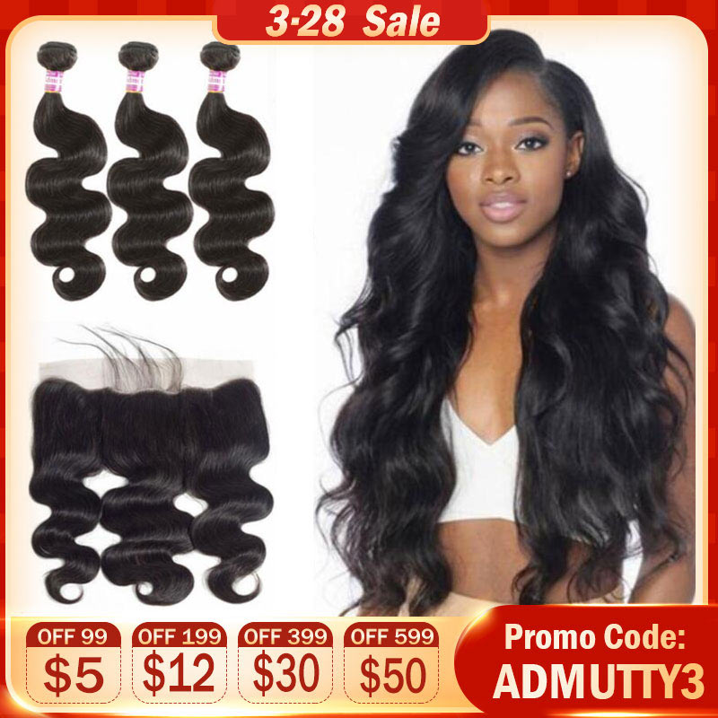 Brazilian Hair Weave Bundles Body Wave Bundles With Frontal Human Hair Bundles With Closure Non Remy Hair Extension