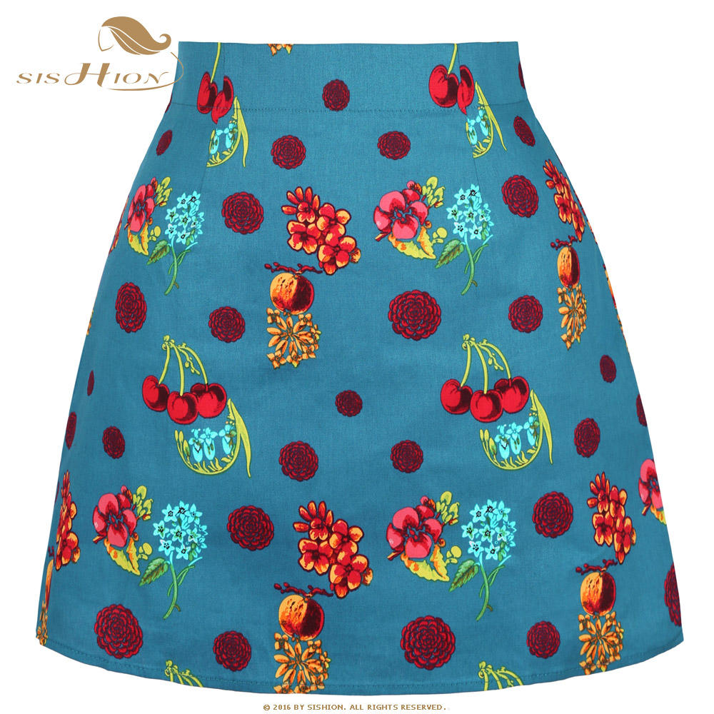 SISHION Cotton Vintage Cherry Flower Print Floral Skirt SS0008 Summer Sexy Short Mini Skirt Holiday Beach Ladies Women Skirt