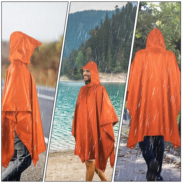 VILEAD Poly Waterproof Raincoat Impermeable Outdoor Equipment Multi-Functional Motorcycle Rain Poncho Canopy Men Women Durable 6