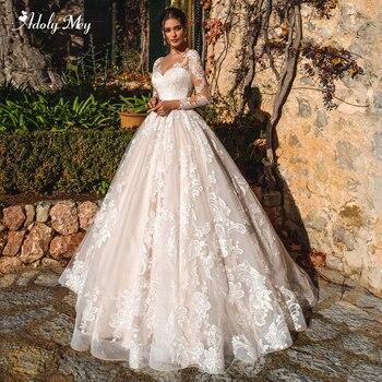 Adoly Mey Gorgeous Appliques Court Train A-Line Wedding Dresses 2020 Elegant Scoop Neck Long Sleeve Vintage Bride Gown Plus Size