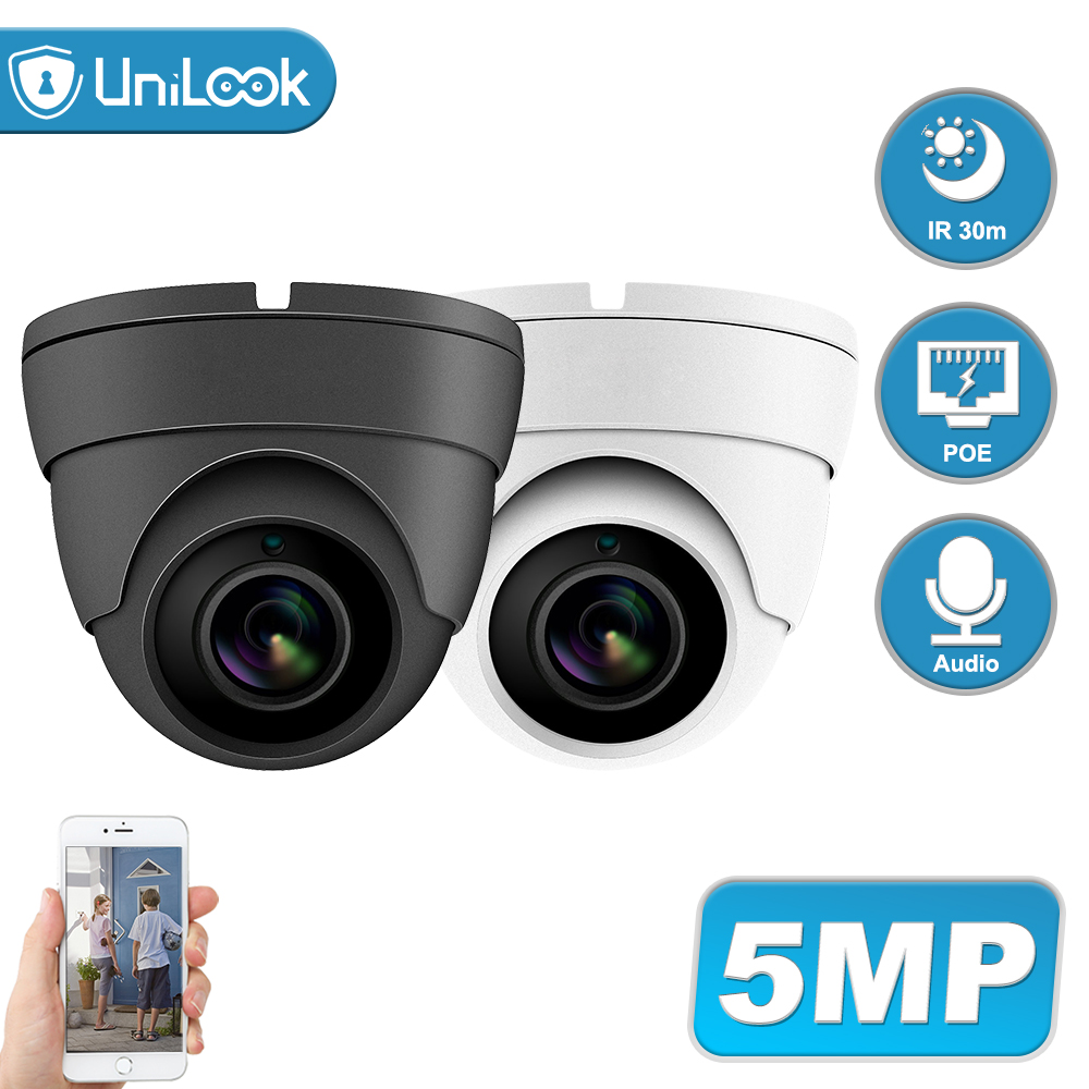 UniLook 4MP 5MP Dome POE IP Security Camera Audio Built In Microphone Hikvision Compatible Outdoor CCTV Camera IR 30m H.265