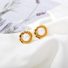 Из пресноводного жемчуга в виде цветка серьги для женщин золотого