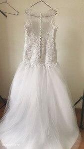 Image 3 - Fansmile vestido de casamento sereia, conjunto com miçangas handwork, roupas nuas e sem costas, para casamento 2020, recém chegado, FSM 507M
