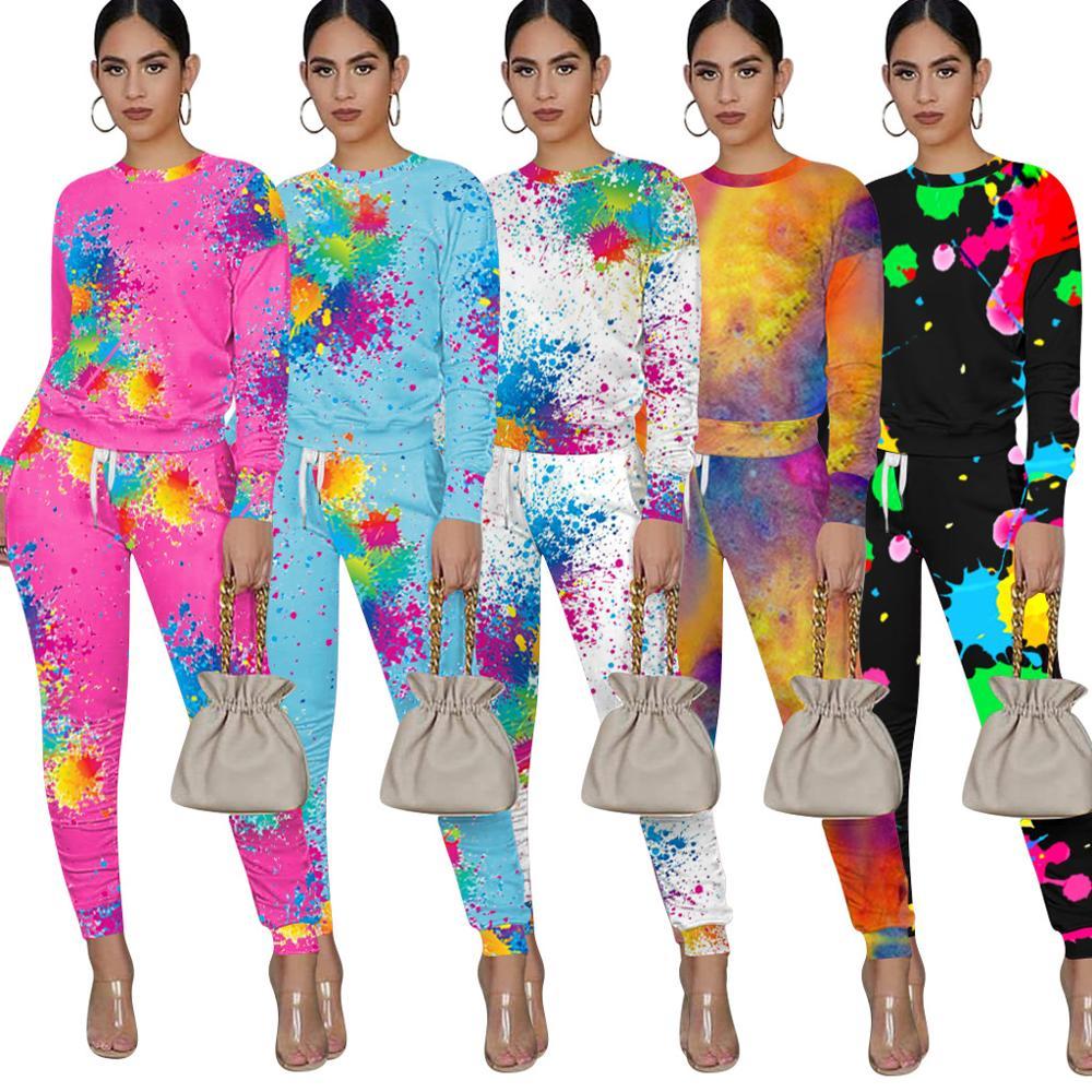 Dwuczęściowy zestaw kobiet 2 sztuka zestaw kobiety stroje z długim rękawem dresy dwa kawałki zestawy jesienne ubrania dla kobiet 2020