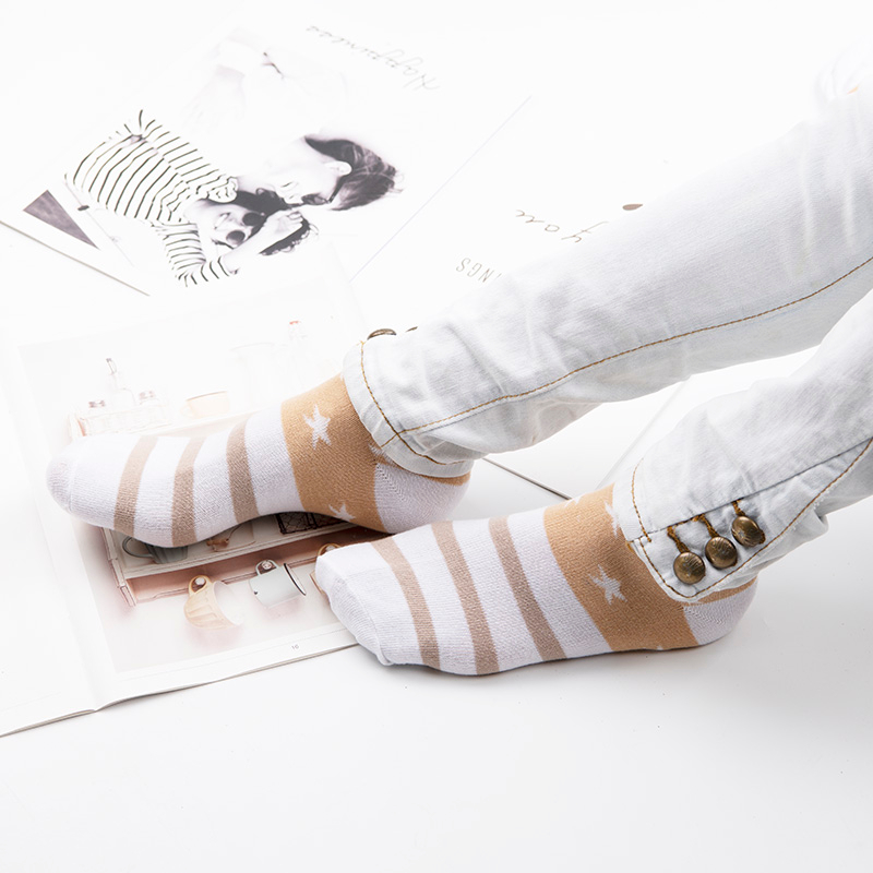 Ha13858dd10c547b9a09146759d343050H - Cotton Boat Socks Woman Stars Stripe Socks ankle low female invisible color girl boy slipper casual hosiery  1pair=2pcs ws106