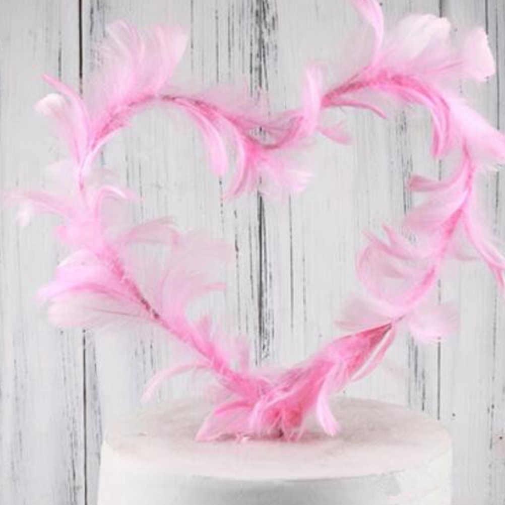 Variedade de fadas Pena Inserir Cartões de Bolo de Coco Do Bolo da Forma Do Coração Picaretas Sobremesa Decoração Do Bolo Do Queque Para O Casamento da Festa de Aniversário
