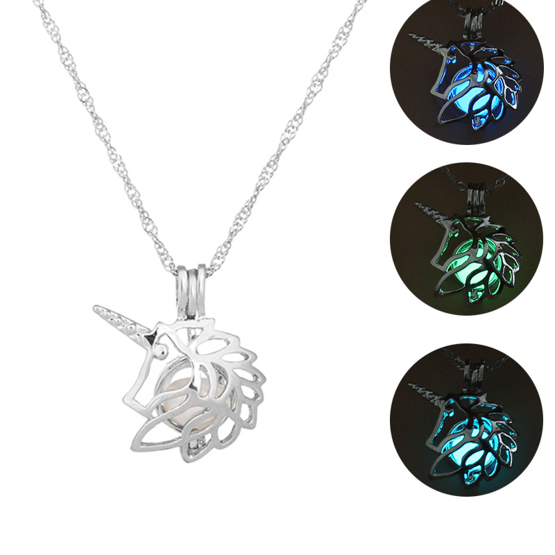 Ha1385dce619d41d7a7377ef299aebbe21 - 3 Colors Glowing In The Dark Lotus Flower Shaped Pendant Necklace Charm Chain Delicacy Necklace Luminous Party Jewelry Women