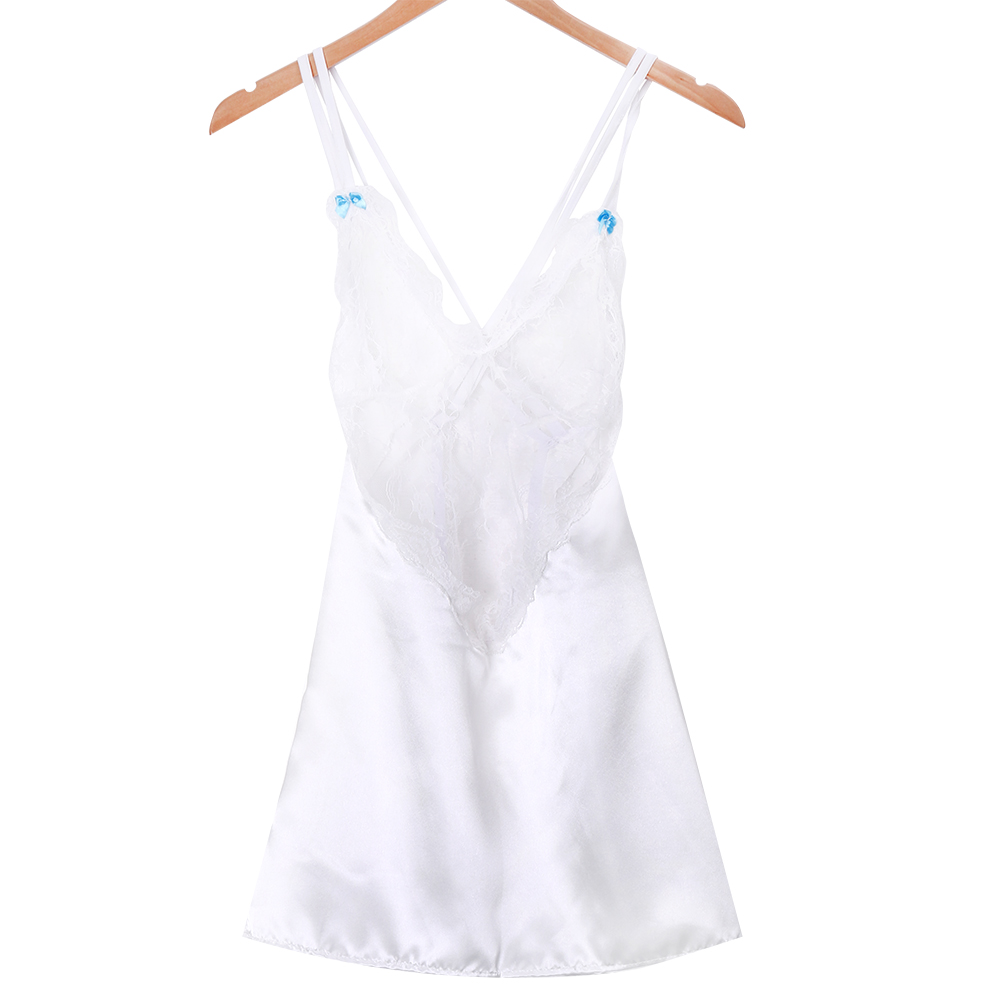 Newtrendy solid lace Deep v across Bandage Sexy Women Lingerie Silk Valentine's Day Dress Nightdress Nightgown Sleepwear