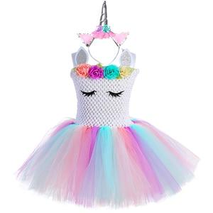 Image 3 - Pastel Bé Gái Kỳ Lân Tutu Đầm Với Đầu Cánh Bộ Trang Phục Hoa Trẻ Em Bé Gái Công Chúa Kỳ Lân Sinh Nhật Đầm Trang Phục