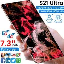 Global Version 7.3 Inch S21 Ultra Full Screen Smartphone 12G 512GB Android 10 GPS Phone Unlock Dual SIM Phone