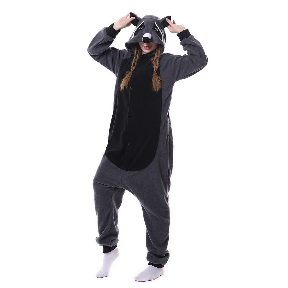 Animal Gray Raccoon Kigurumi Pajamas Onesie For Adult And Teens Cartoon Onesies One-piece Sleepwear Women Suits Cosplay Outfit