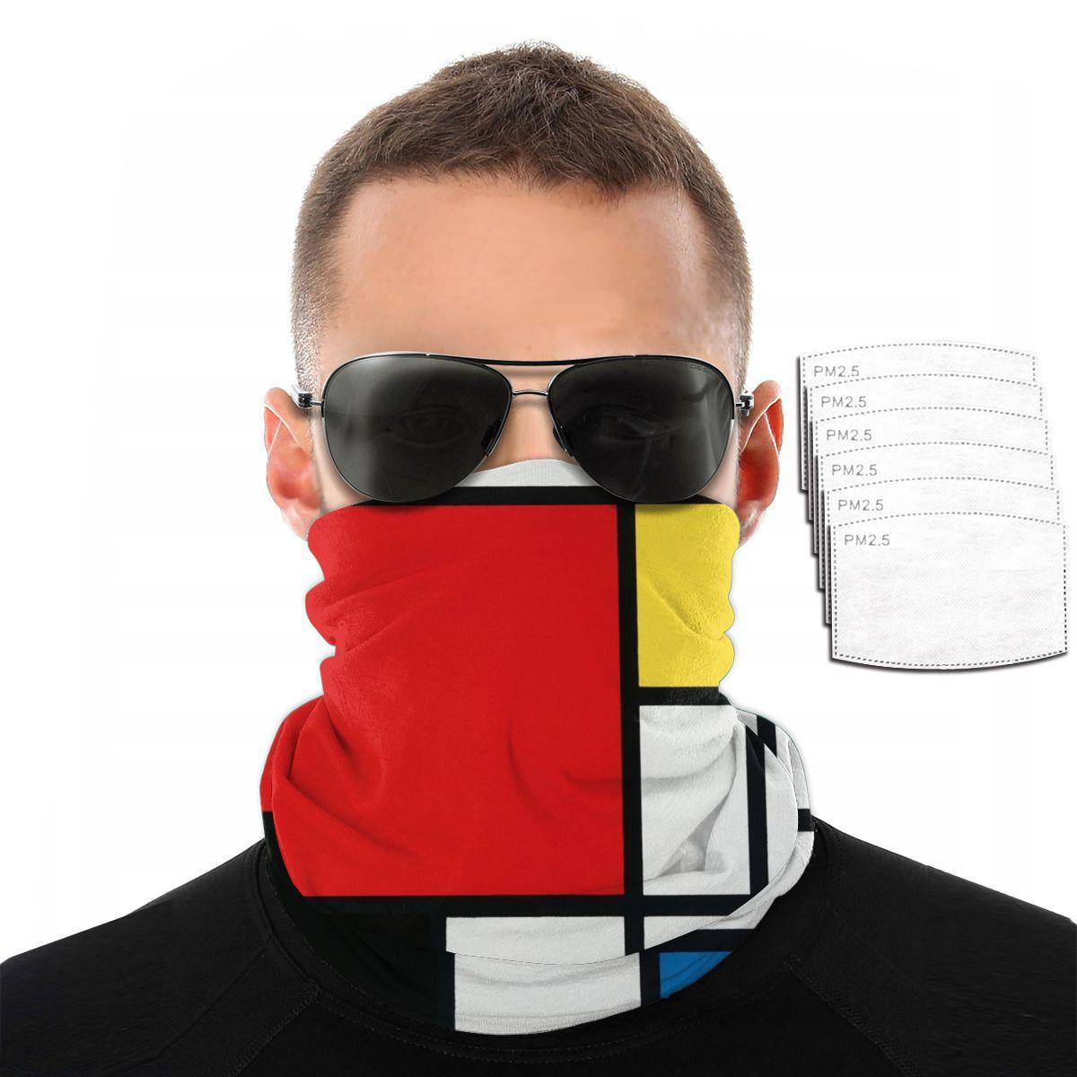 Bandana Neck Gaiter Headband Cycling Fishing Mask Scarf Piet Mondrian Multifunctional Outdoor Headwear
