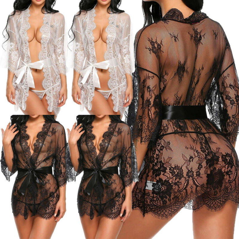 Sheer Floral Lace Trim Up Robe Dress Boudoir Nightgown Lingerie Sexy Nightdress Babydolls & Chemises