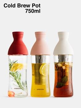 Jarra para infusión fría, filtro de 750ml en botella de café fría, cafetera de vidrio, extracción en frío, mezcla de café molido con agua fría