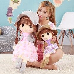 Venta directa de fabricantes lindo traje pequeño muñeca de peluche para niñas sombrero muñeca regalo de cumpleaños