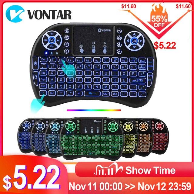 VONTAR i8 키보드 백라이트 영어 러시아어 스페인어 에어 마우스 2.4GHz 무선 키보드 터치 패드 핸드 헬드 TV 박스 H96 max PC