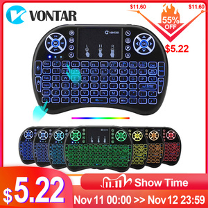 Image 1 - VONTAR i8 keyboard backlit English Russian Spanish Air Mouse 2.4GHz Wireless Keyboard Touchpad Handheld for TV Box H96 max PC