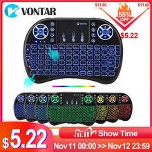 VONTAR i8 tastatur backlit Englisch Russisch Spanisch Air Maus 2,4 GHz Wireless Tastatur Touchpad Handheld für TV Box H96 max PC
