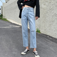 With Holes Loose Fit Slimming Raw cut Ankle length Jeans Women's 2019 Autumn New Style BF Harajuku Wind High waisted Straight le