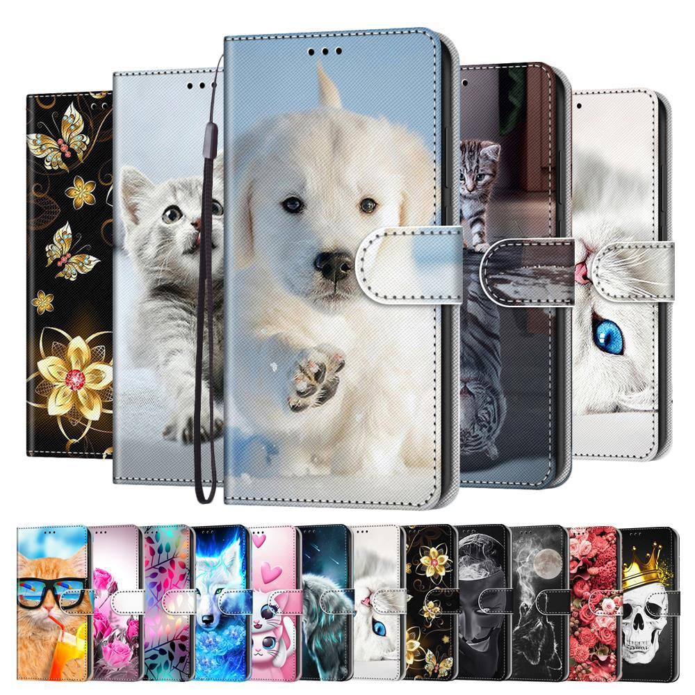 עור Flip מקרה על עבור Fundas Huawei Y3 Y5 לייט Y6 2017 Y3 2018 מקרה כבוד 6 לשחק טלפון מקרי קריקטורה צבוע סטנד ארנק