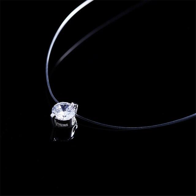 Transparent Line Link + Crystal Pendant Necklace 5