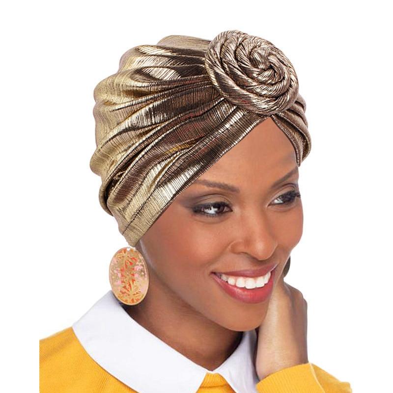 Neue Mode Damen Metallic Elastische Turban Vintage Shiny Hijab Kopf Wrap Beanie Hut Muslimischen Kopftuch Headwear Haar Zubehör