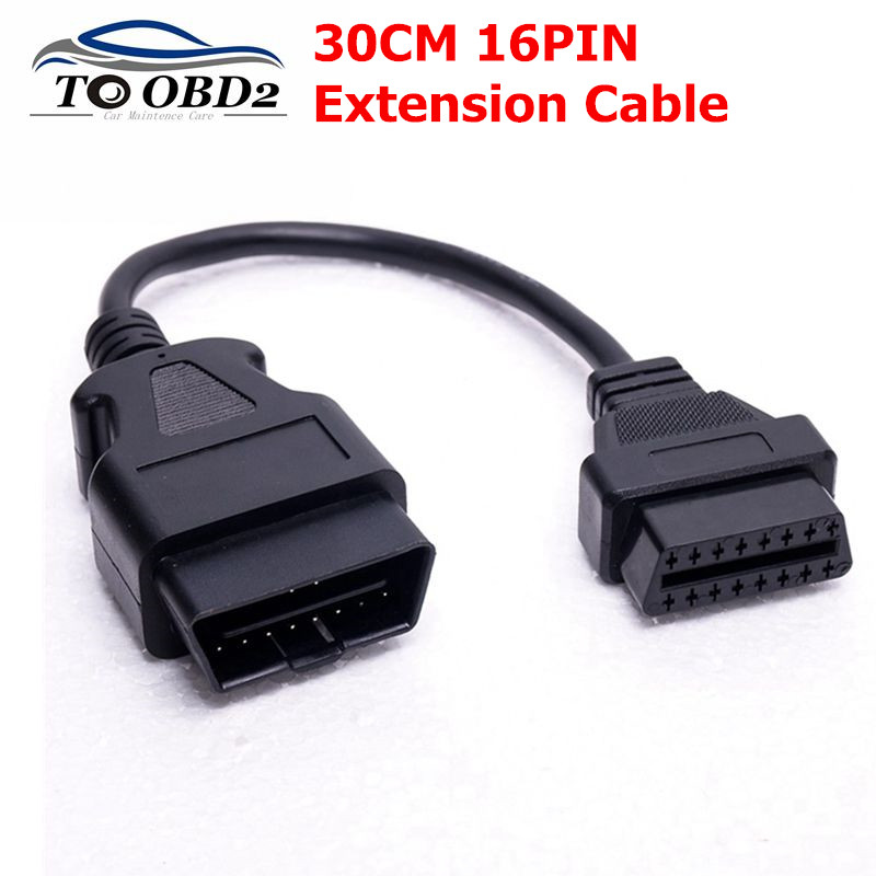 OBD2 16PIN Extension Cable Connector For Car Diagnosis OBD OBD2 30cm Male To Female 16 Pin Extension Cable