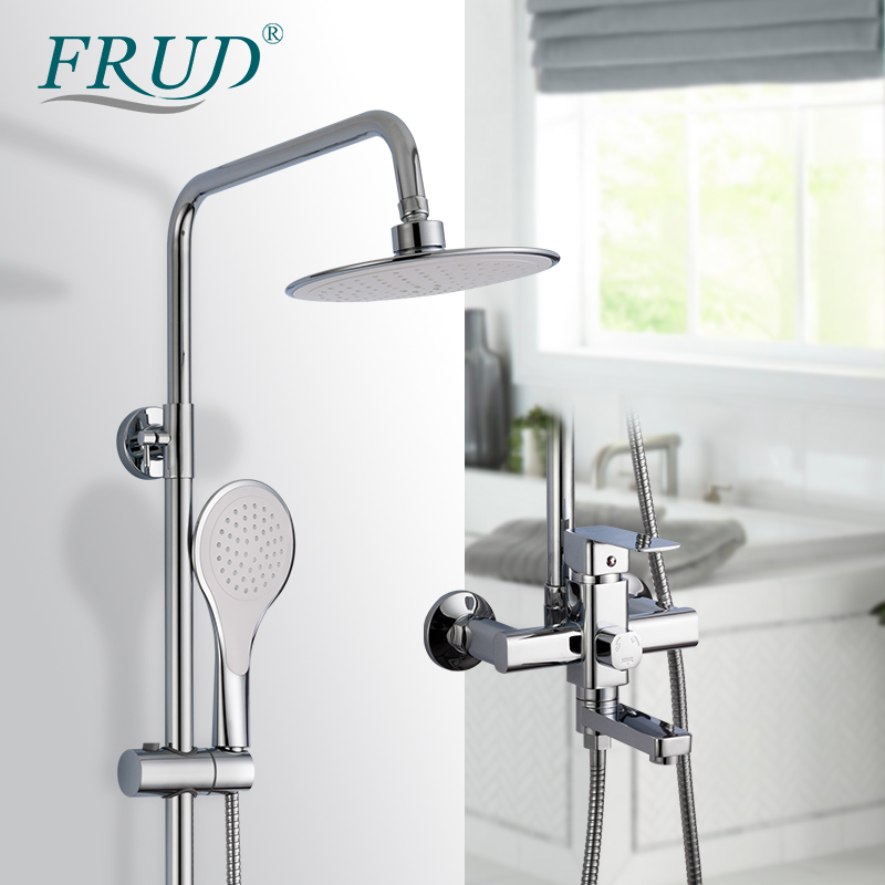 FRUD High Quality Chrome Bath Shower Mixer Faucet Rotate Tub Spout Bathroom Wall Mount Rainfall Shower System With Handshower