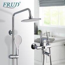 FRUD Hohe Qualität Chrome Bad Dusche Mixer Wasserhahn Drehen Badewanne Auslauf Bad Wand Halterung Regen Dusche System Mit Handbrause