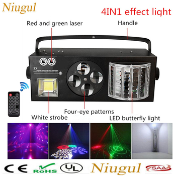Wireless Remote Control 4in1 LED Effect Light Laser Flash Gobo Strobe Butterfly Derby Light DMX512 Auto Sound LED Stage Lighting