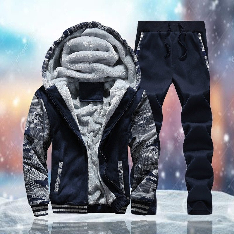 Men Sportswear Set Winter Casual Men Tracksuit Fashion Thick Sweatsuit Hoodies Coats Sweatpants Joggers Suit Trainingspak Mannen
