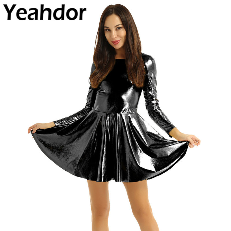 Women Ladies Shiny Metallic Scoop Neck Long Sleeves Solid Color A-line Style Dress Evening Party Dress Clubwear Nightclub Dress