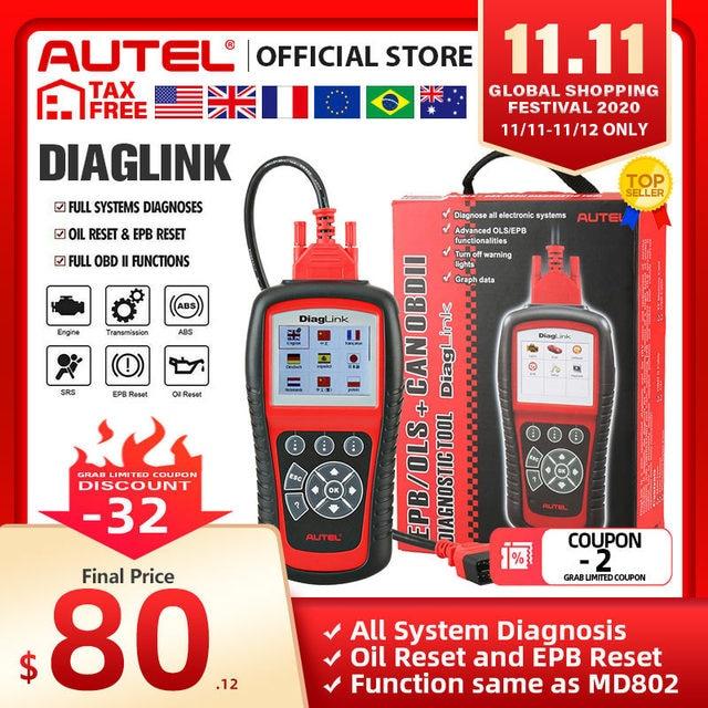 Autel diaglinkフルシステムOBD2スキャナー車診断ツールobd 2 eobdコードリーダーエンジンabsエアバッグ伝送pk MD802 MD805