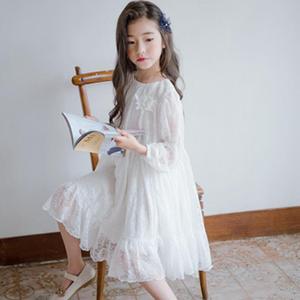 Image 3 - Menina vestido de manga longa branco vestidos de renda para meninas floral bonito vestido de princesa crianças primavera verão vestido de festa roupas