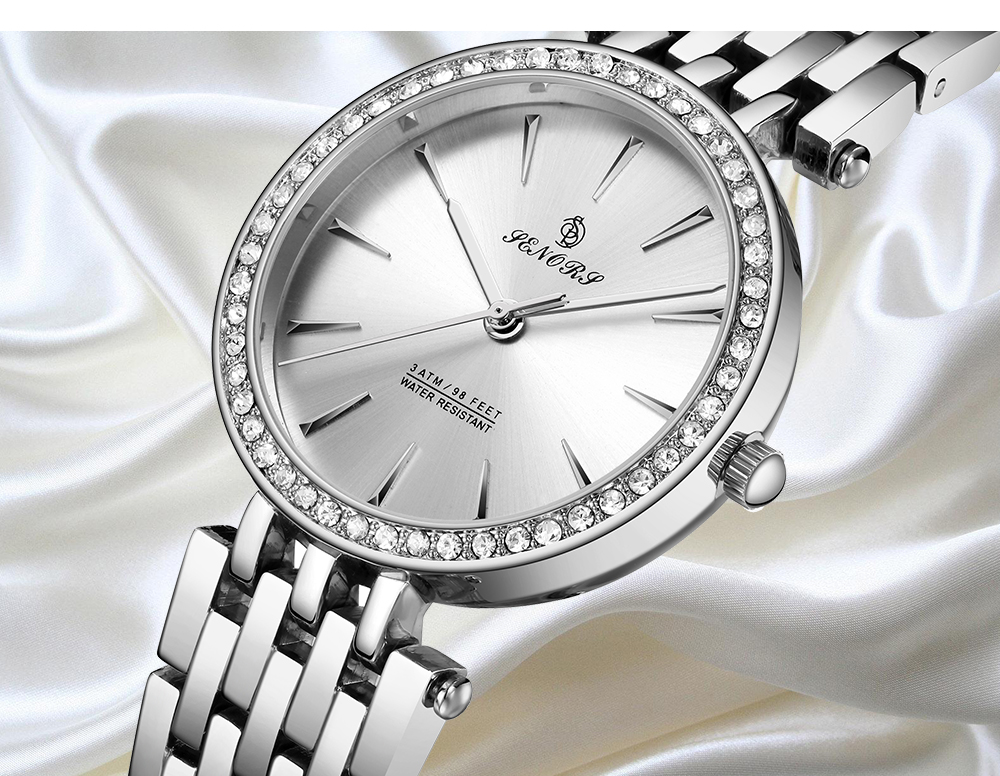 IsMyStore: SENORS Fashion luxury woman watch Watches Round Dail Luxury Silver Clock Casual Quartz Steel Band Marble Strap Watch Wrist Watch