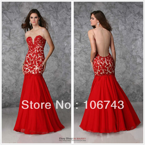 Free Shipping 2016 New Red Carpet Prom Gown Custom Size Long Mermaid Pageant Evening Party Open Back Dress Prom Dress Vw360013