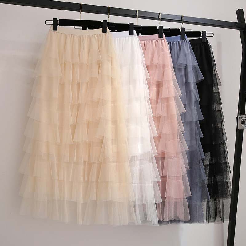 Tutu New Style Pleated Cake Dress Skirt Women's High-waisted Slimming Gauze Skirt Long Skirts