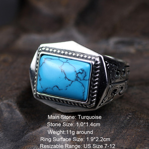 Image 2 - Genuine 925 Sterling Silver Rings For Men Inlaid Natural Stone Mens Ring Polygon Vintage Design Adjustable Turkey Jewelry