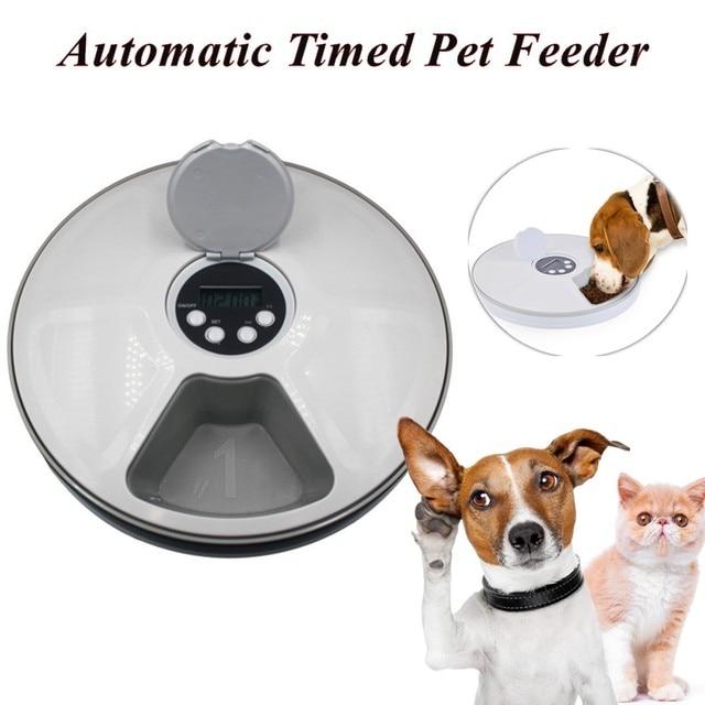 Alimentador de distribuição redonda alimentador automático para animais de estimação 6 refeições 6 grades gato cão elétrico dispensador de alimentos secos 24 horas alimentação para animais de estimação suprimentos 40% de desconto 1