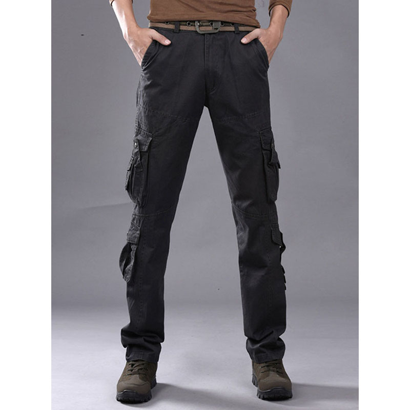 2019 Autumn Mens Cargo Pants Army Tactical Pants Male Multi-pocket Outwear Straight Trousers Military Pant Men Pantalon Homme
