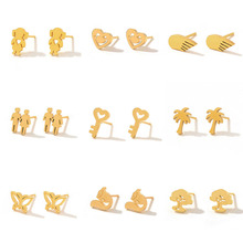 Gold Color Stainless Steel Stud Earrings for Women Fashion Girl Small Punk Earings Studs Gifts