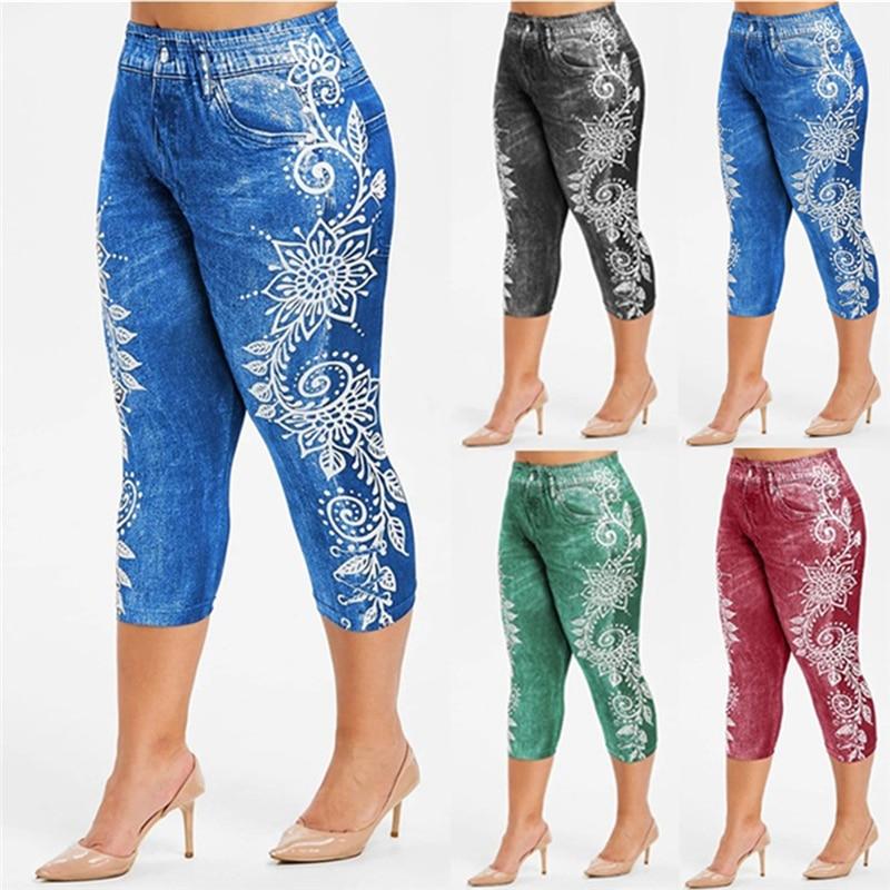 Printed False Denim Short Leggings 3\4 Women Jeans Leggings High Waist Breeches Capri Pants Super Elastic Jeggings Plus Size 3XL