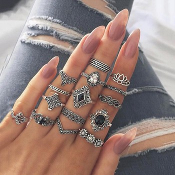 15 Pcs/Set Women Antique Silver Color Star Flower Crystal Ring Punk Ring Carved Knuckle Anillos Anel Rings Antique Silver image