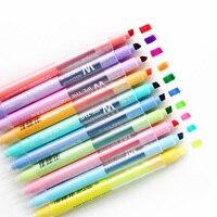 10 ピース/セットかわいい蛍光ダブルヘッド蛍光ペン消去可能な Mildliner ソフト蛍光かわいい色マーカーペン